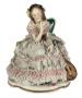 Antiga Escultura Dama Porcelana Alema Saia Renda