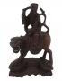 Antiga Escultura Oriental Madeira Raiz De Nogueira Rica Em Detalhes