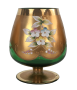 Antiga Taça Cristal Veneziano Flores Alto Relevo Verde