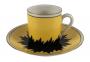 Antiga Xicara De Cafe Porcelana H&M Preto E Amarelo