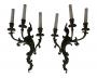 Antigo Par De Arandelas Em Bronze Art Noveau 3 Lampadas