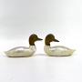 Antigo Par De Pato Decorativo Em Bronze E Madreperola