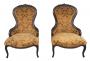 Antigo Par De Poltrona Luis Xv Vitoriana Madeira E Tecido Nobre