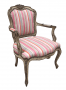 Cadeira Luis Xv Antiga Poltrona Patina Tecido Listrado Belissima