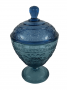 Compoteira Antiga Vidrao Azul Belissima