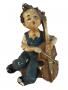 Escultura Bibelo Menino Com Violoncelo Em Gesso