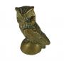 Escultura Coruja Em Bronze Antiga 9cm