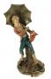 Linda Escultura Menino Com Guarda Chuva 26cm