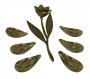 Linda Flor E Folhas Em Bronze Antiga