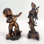 Par De Esculturas Representando Musicos Em Gesso