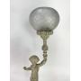 Luminaria Antiga Abajur Em Bronze Cupula Vidro