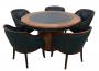 Magnifica Mesa Antiga De Poker Carteado 5 Poltronas