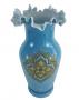 Magnifico Vaso Antigo Opalina Francesa Azul 40cm