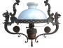 Magnifico Lustre Antigo Metal Dragao Cupula Vidro