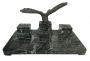 Magnifico Tinteiro Antigo Marmore Aguia Em Bronze