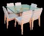 Mesa De Jantar Quadrada Tampo Vidro 12mm Com 6 Cadeiras