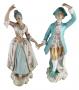 Par De Escultura Antiga Porcelana Casal Nobre 30cm