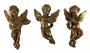 Trio De Escultura Bibelo Antigo Anjos Musicais Resina