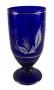 Vaso Antigo Vidro Azul Cobalto Detalhes Em Ouro