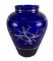 Vaso Antigo Vidro Azul Cobalto E Ouro