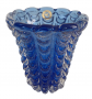 Vaso Cristal Di Murano Azul Com Po De Ouro 24k