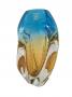 Vaso Cristal Murano Sao Marcos Azul E Ambar Com Bolhas