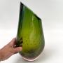 Vaso Cristal Murano Sao Marcos Degrade Verde E Ambar Com Bolhas