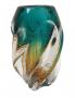 Vaso Cristal Murano Sao Marcos Verde Ambar Com Bolhas