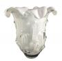 Vaso De Murano Cristal Sao Marcos Branco Com Bolhas