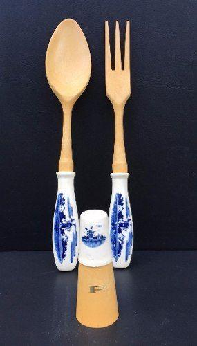Talheres e Saleiro Porcelana Decorativo Estilo Holandês