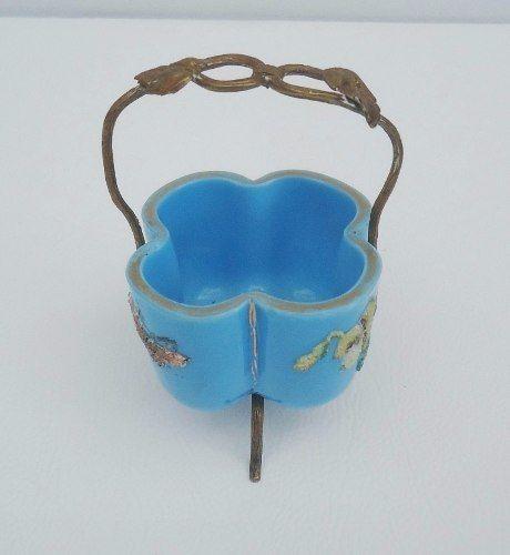 Antiga Cestinha Miniatura Em Opalina Azul