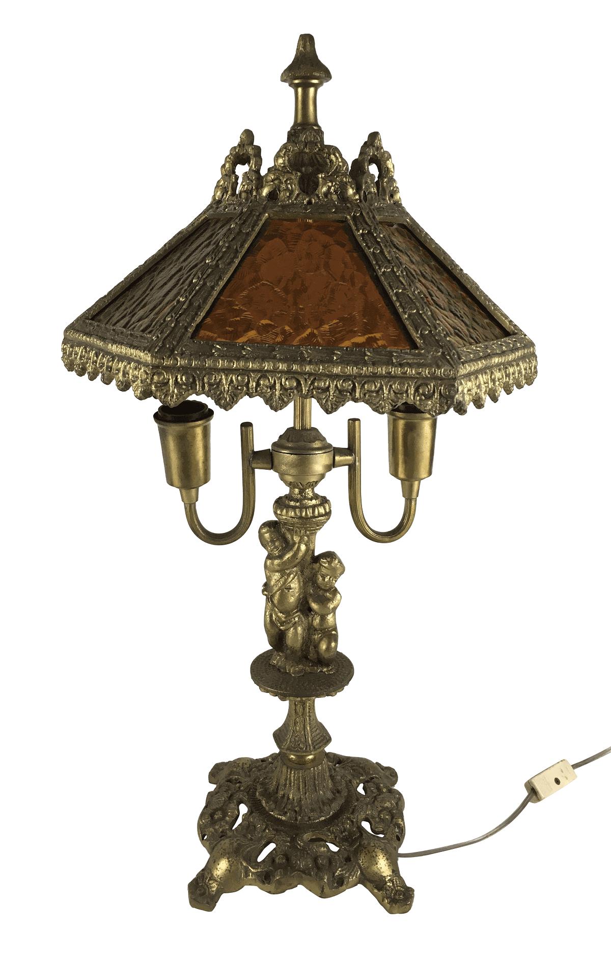 Abajur Antigo Em Bronze Cupula Sextavada Belissimo