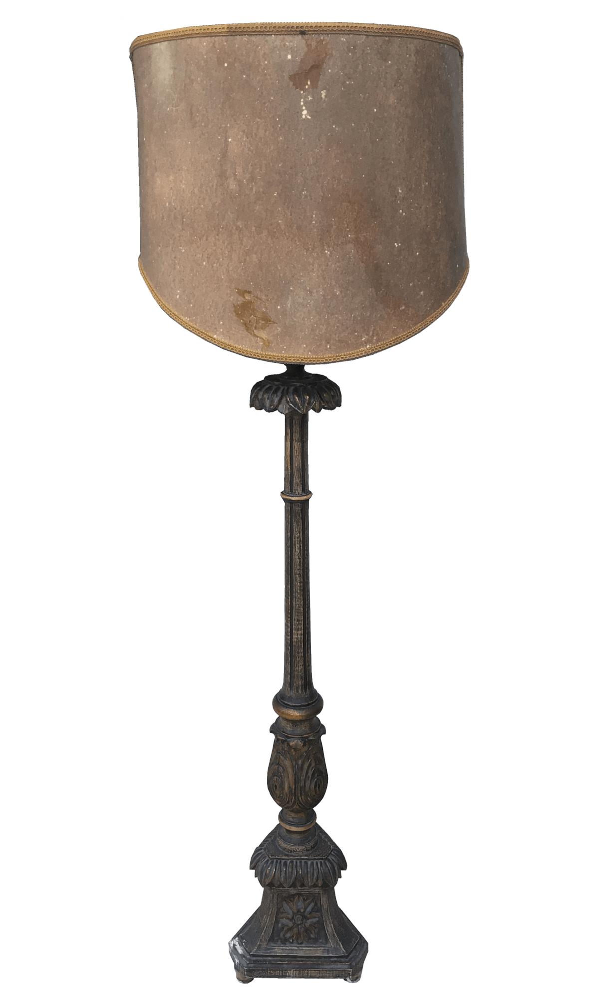 Abajur Tocheiro Madeira Antigo Pedestal Barroco