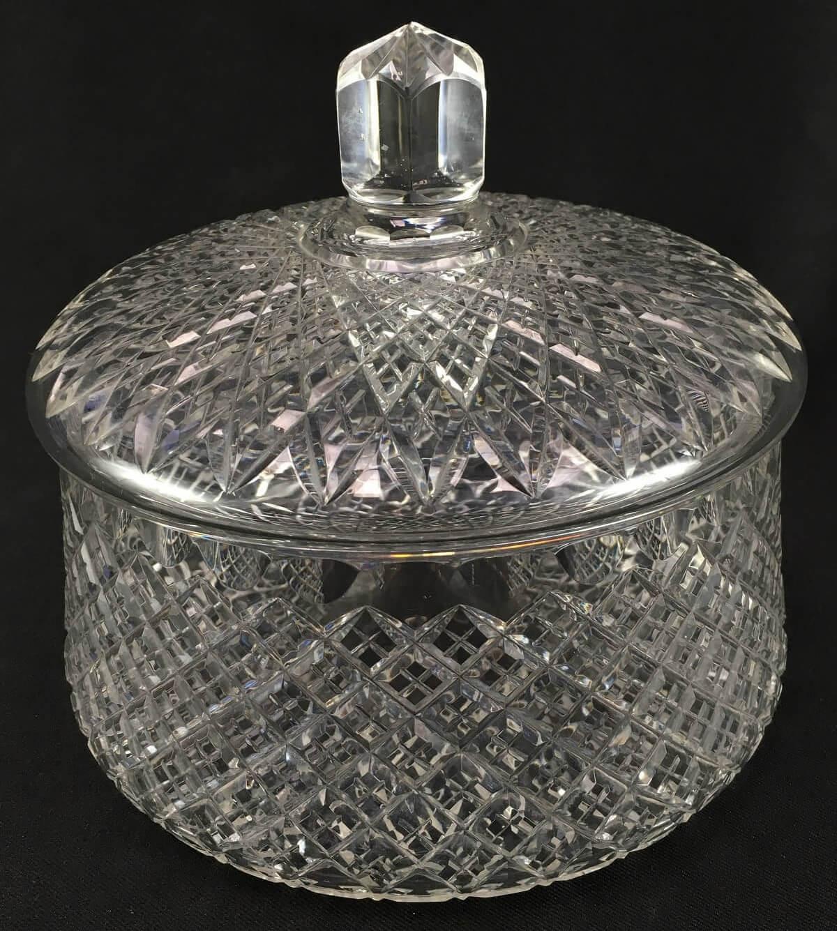 Antiga Bomboniere Cristal Europeu Lapidado