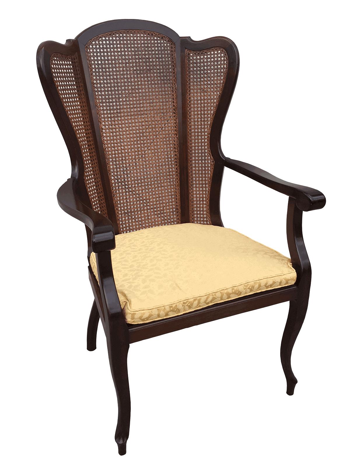 Antiga Cadeira Com Braço Estilo Ingles Palhinha Belissima