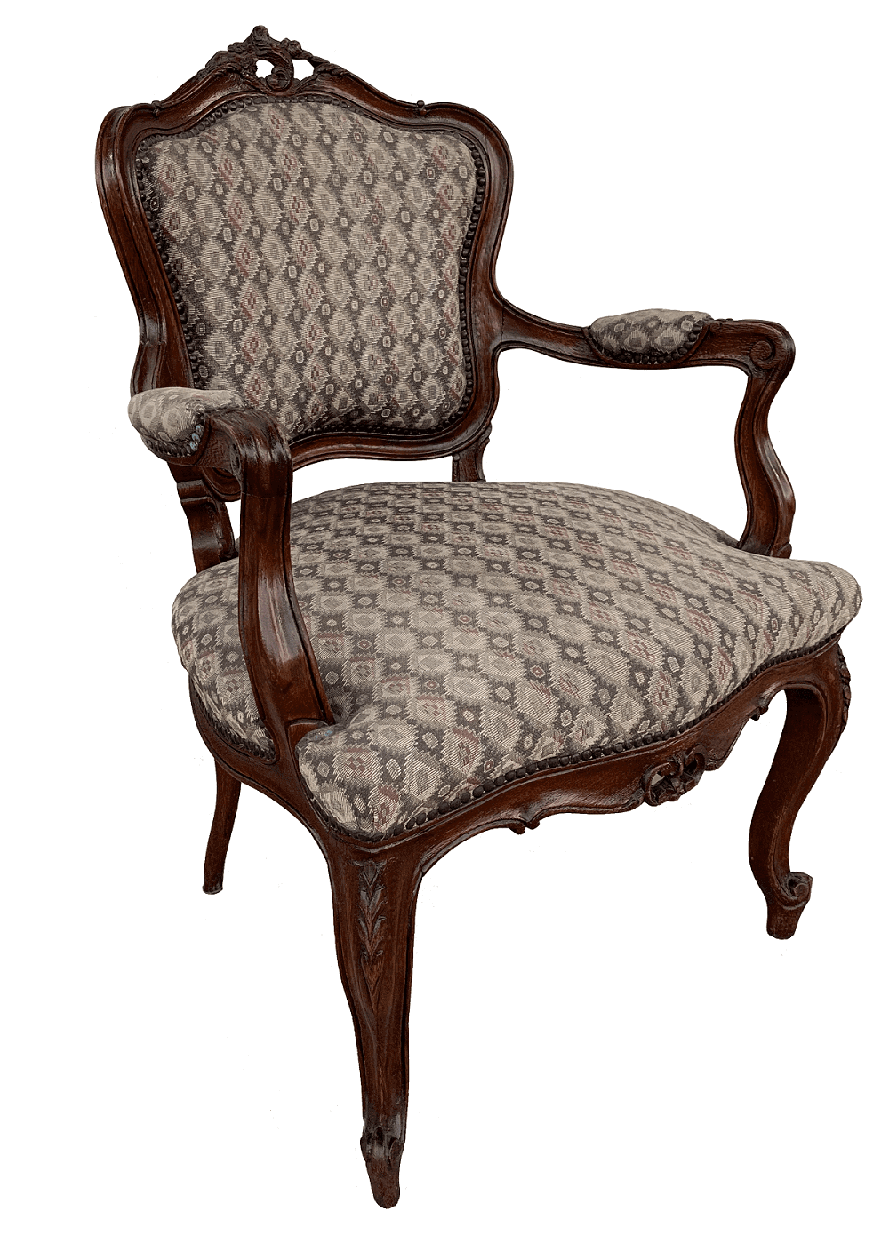 Antiga Cadeira Com Braço Luis Xv Entalhada