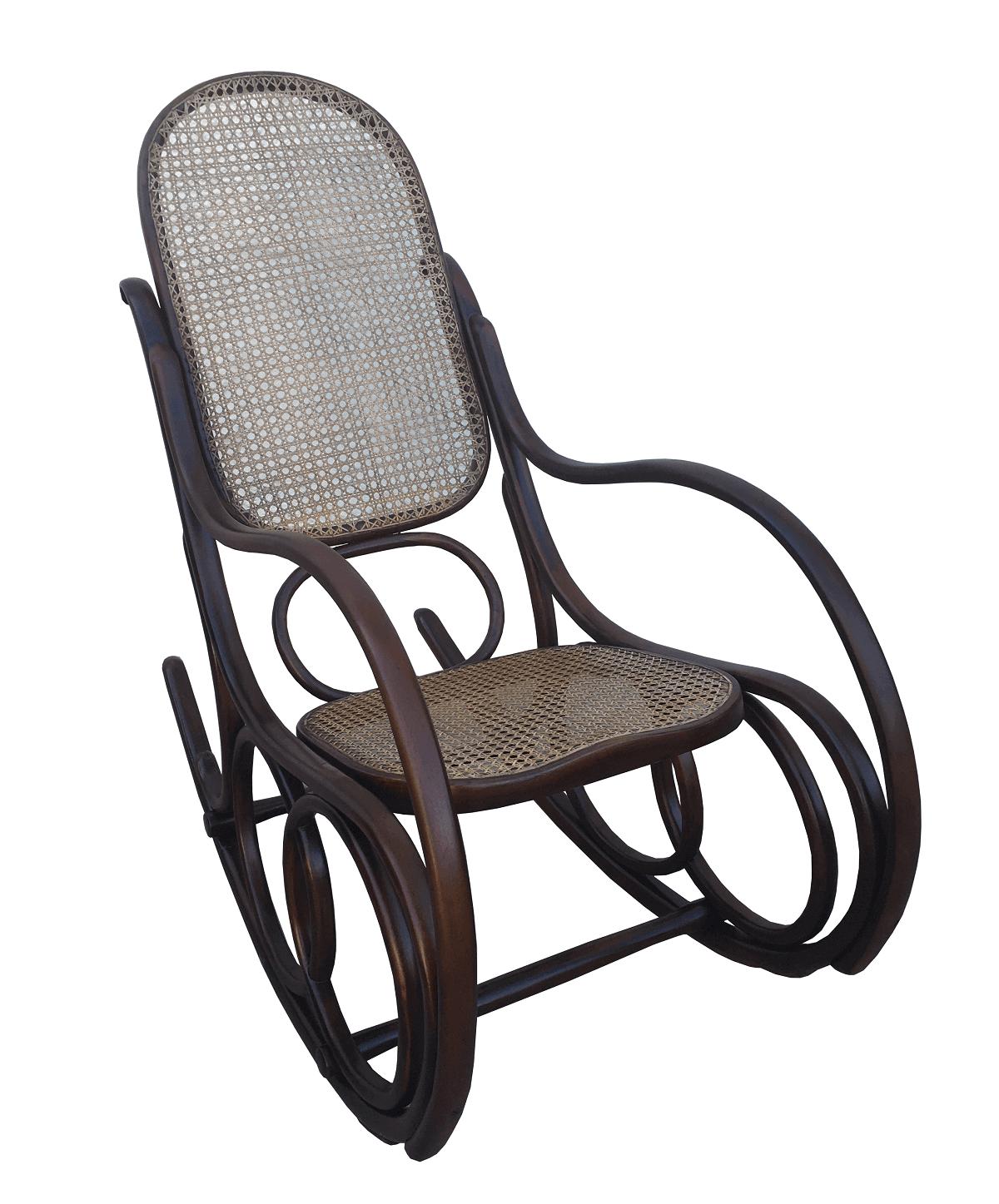 Antiga Cadeira De Balanço Austriaca Thonet Palhinha