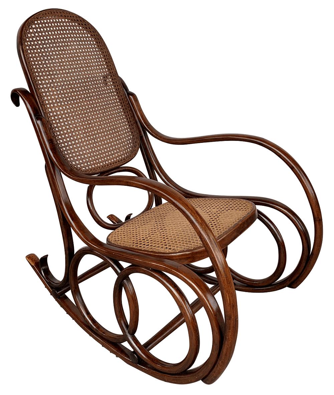 Antiga Cadeira De Balanço Thonet Austriaca Palhinha