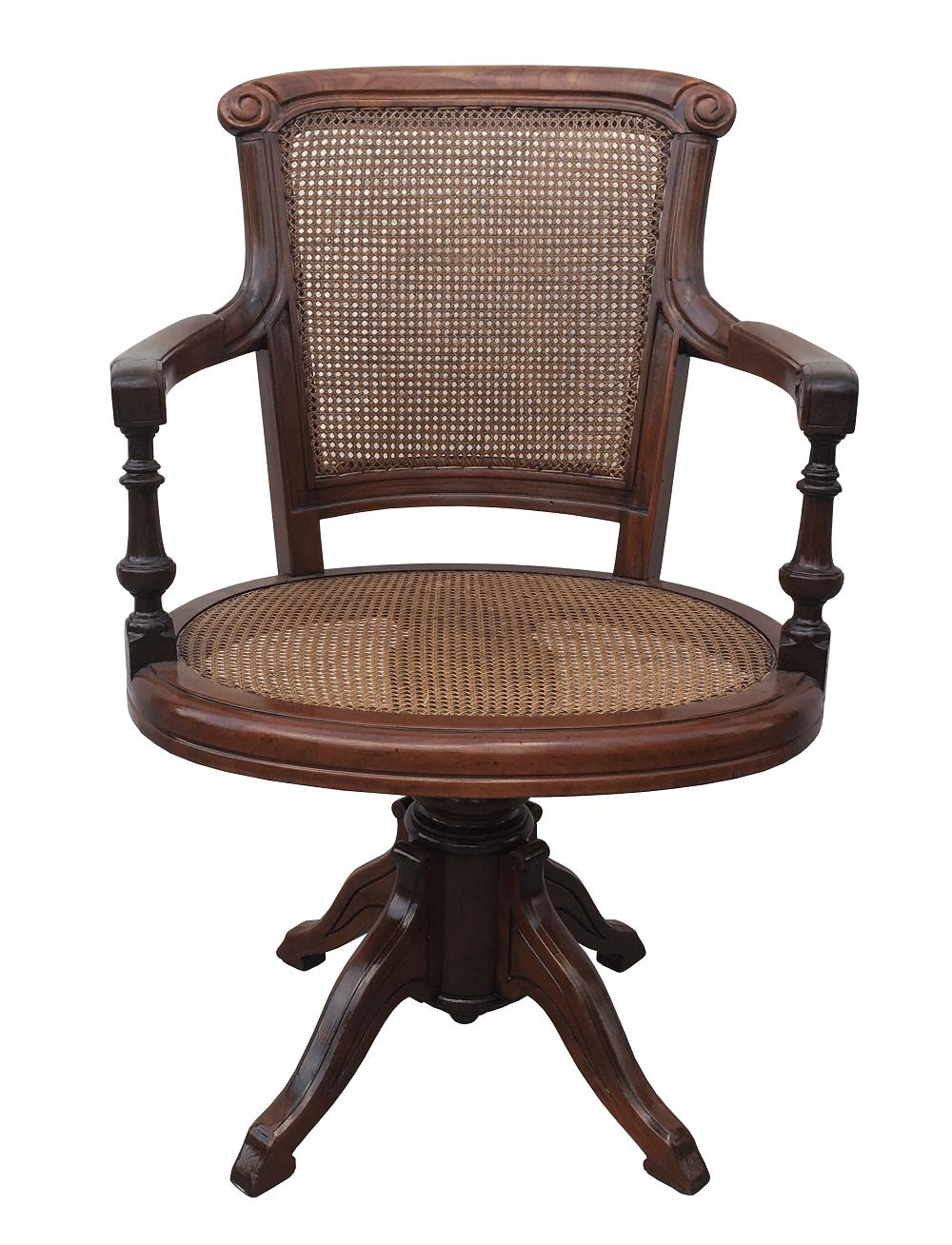 Antiga Cadeira Giratoria Madeira Nobre E Palhinha