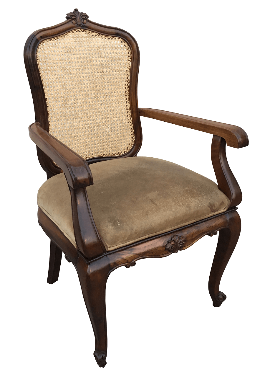 Antiga Cadeira Luis Xv Com Braço Madeira Nobre E Palhinha