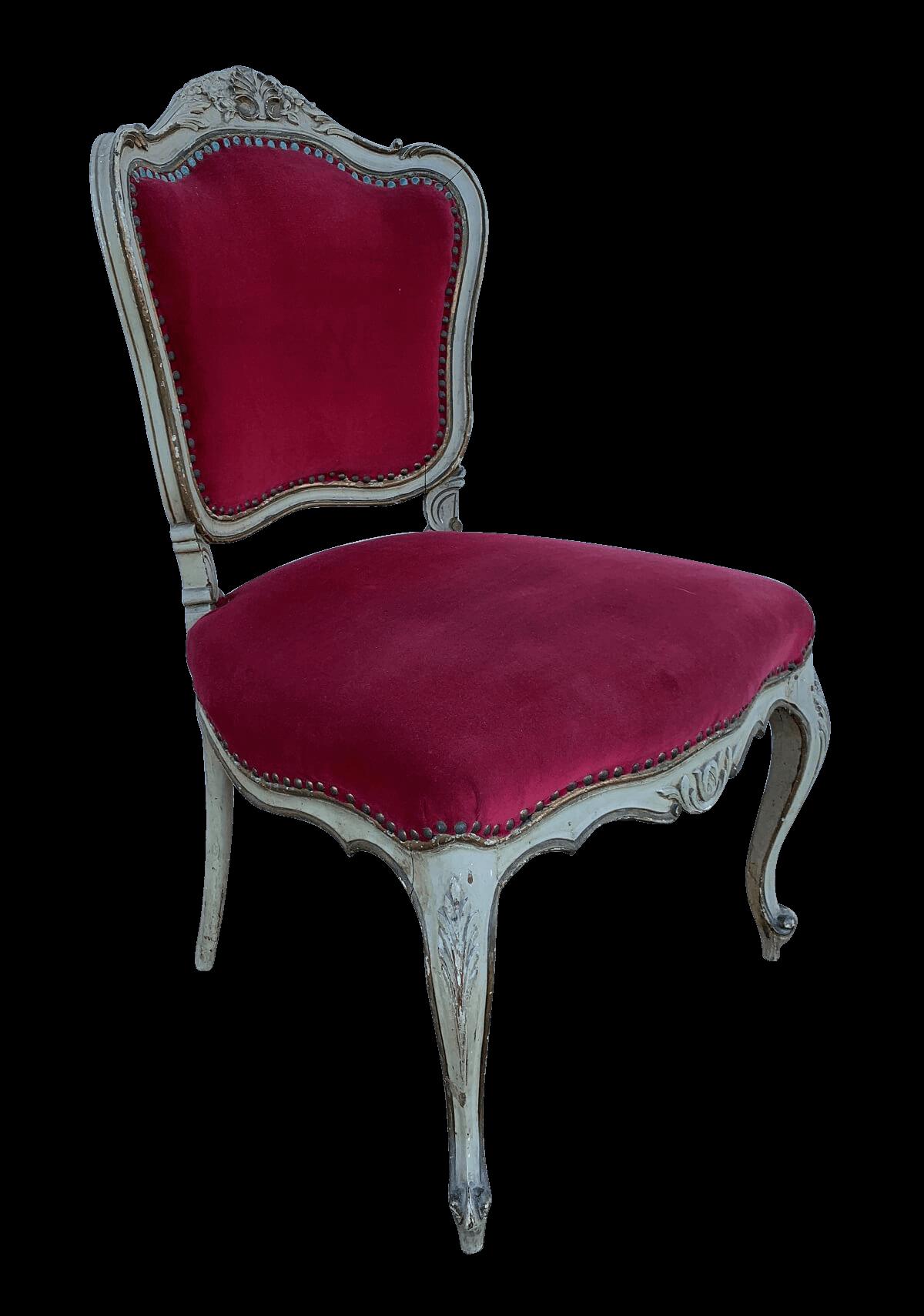 Antiga Cadeira Luis Xv Patina Tecido Veludo