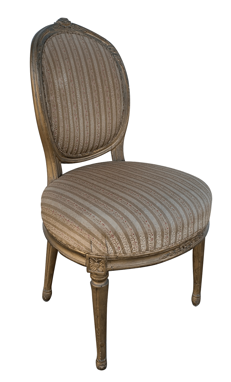 Antiga Cadeira Luis Xvi Dourada