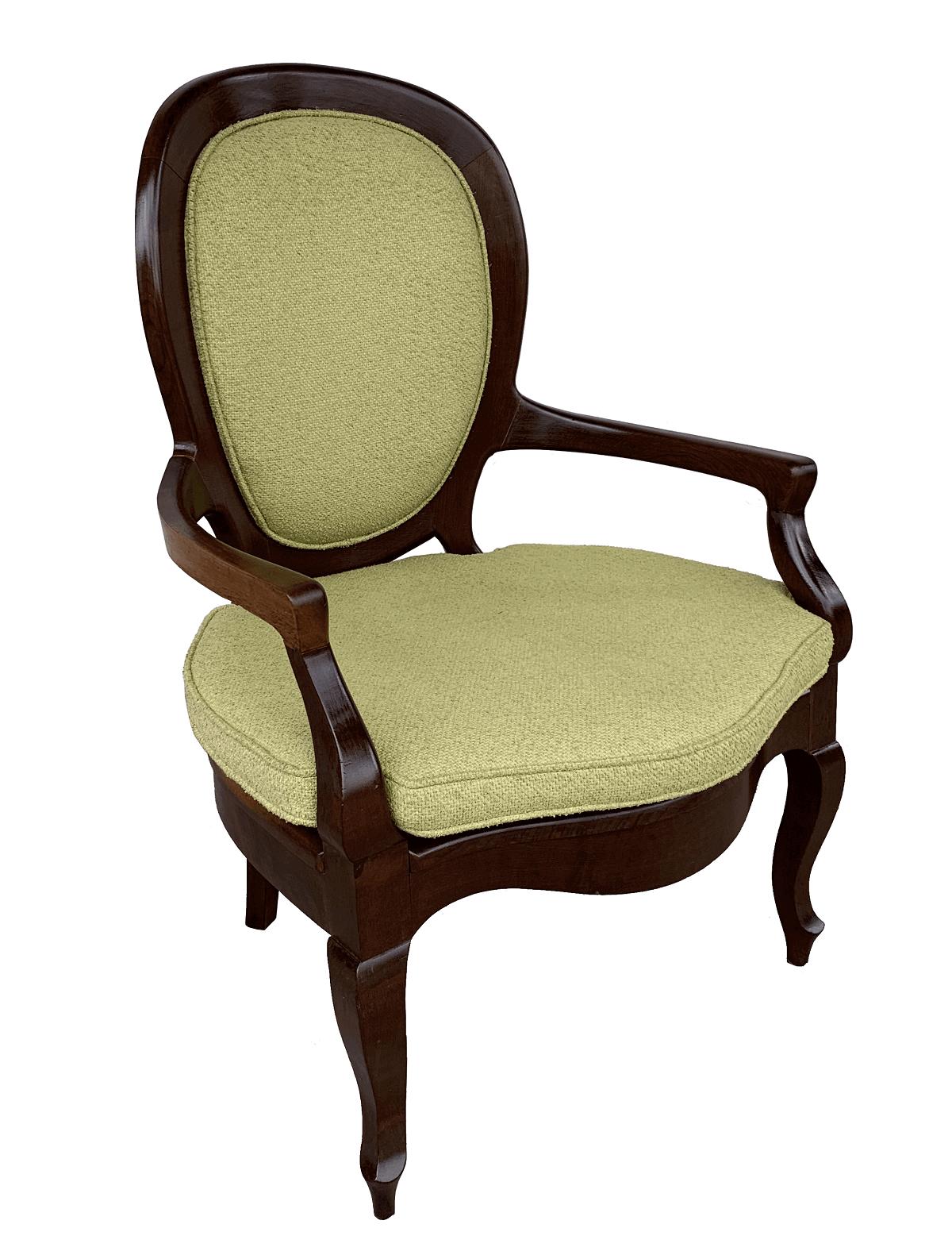 Antiga Cadeira Medalhao Com Braço Em Madeira Nobre