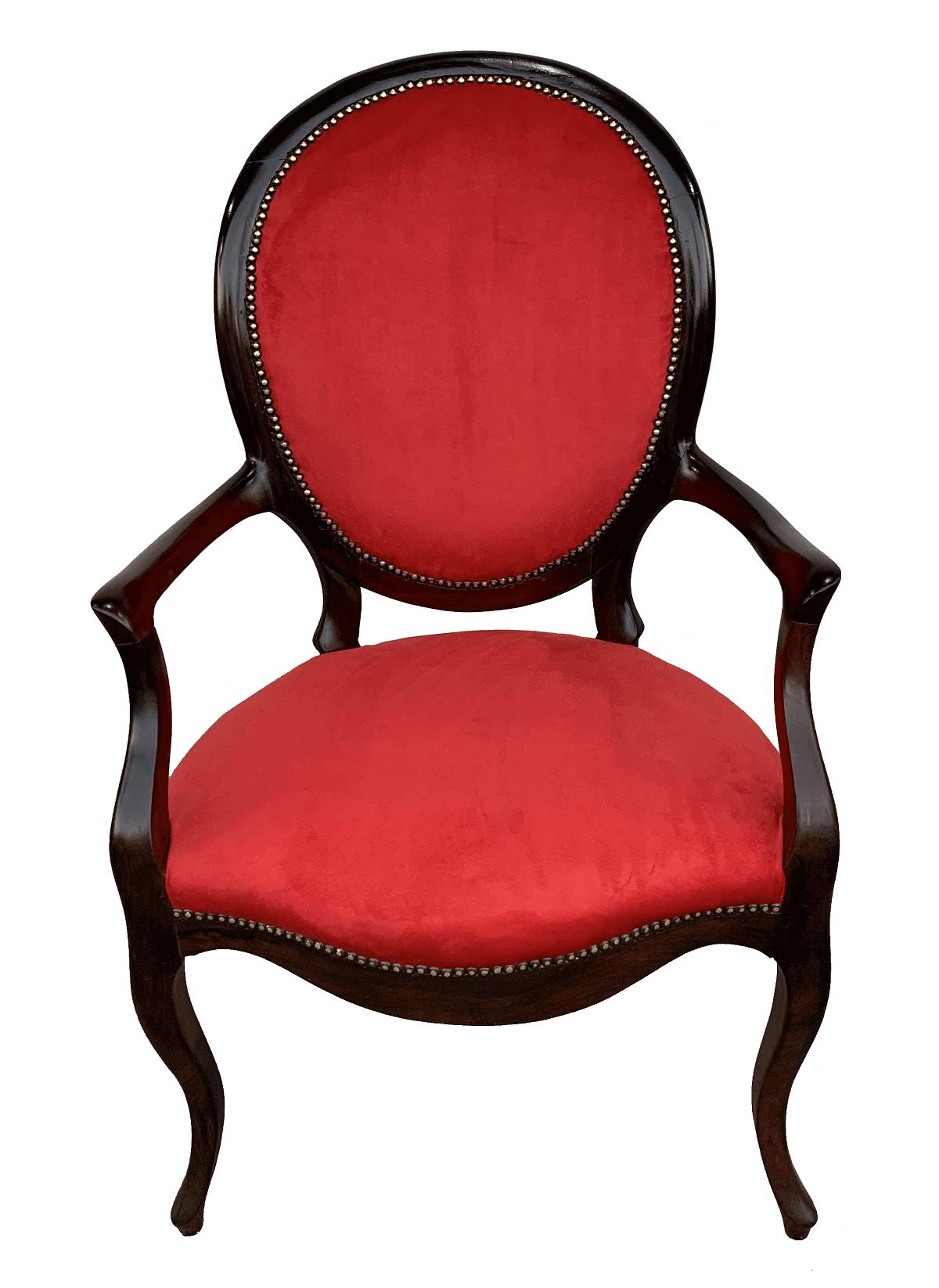 Antiga Cadeira Medalhao Com Braço Jacaranda