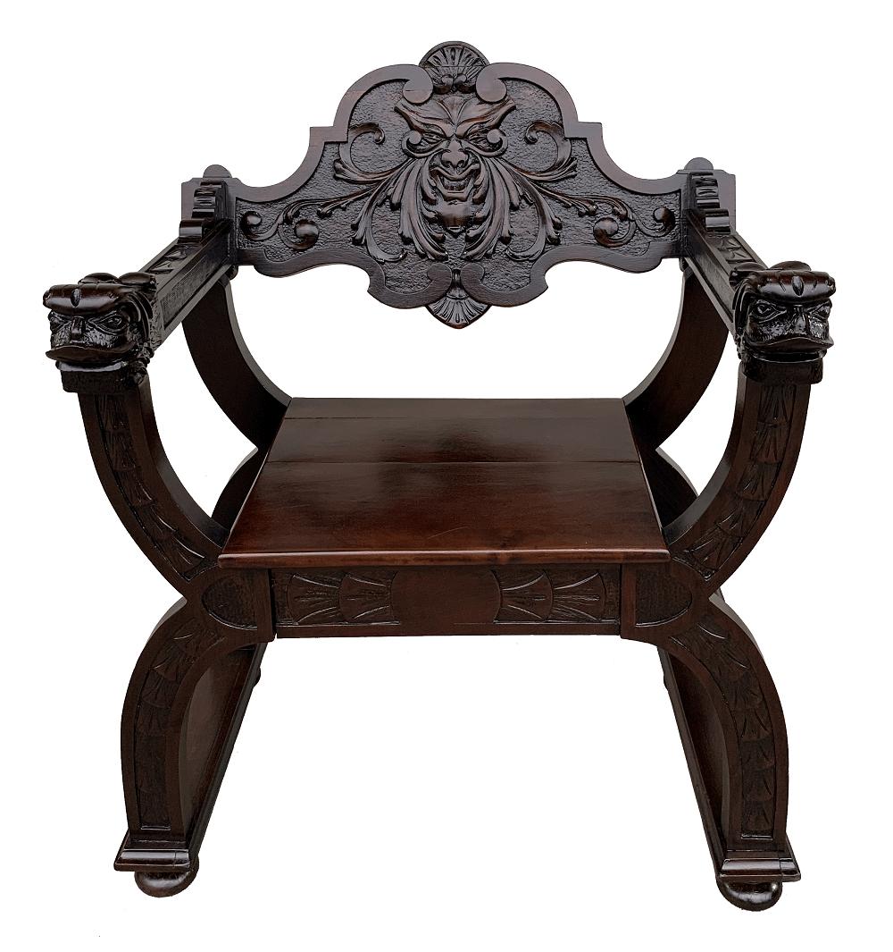 Antiga Cadeira Savanarola Renascença Madeira Nobre