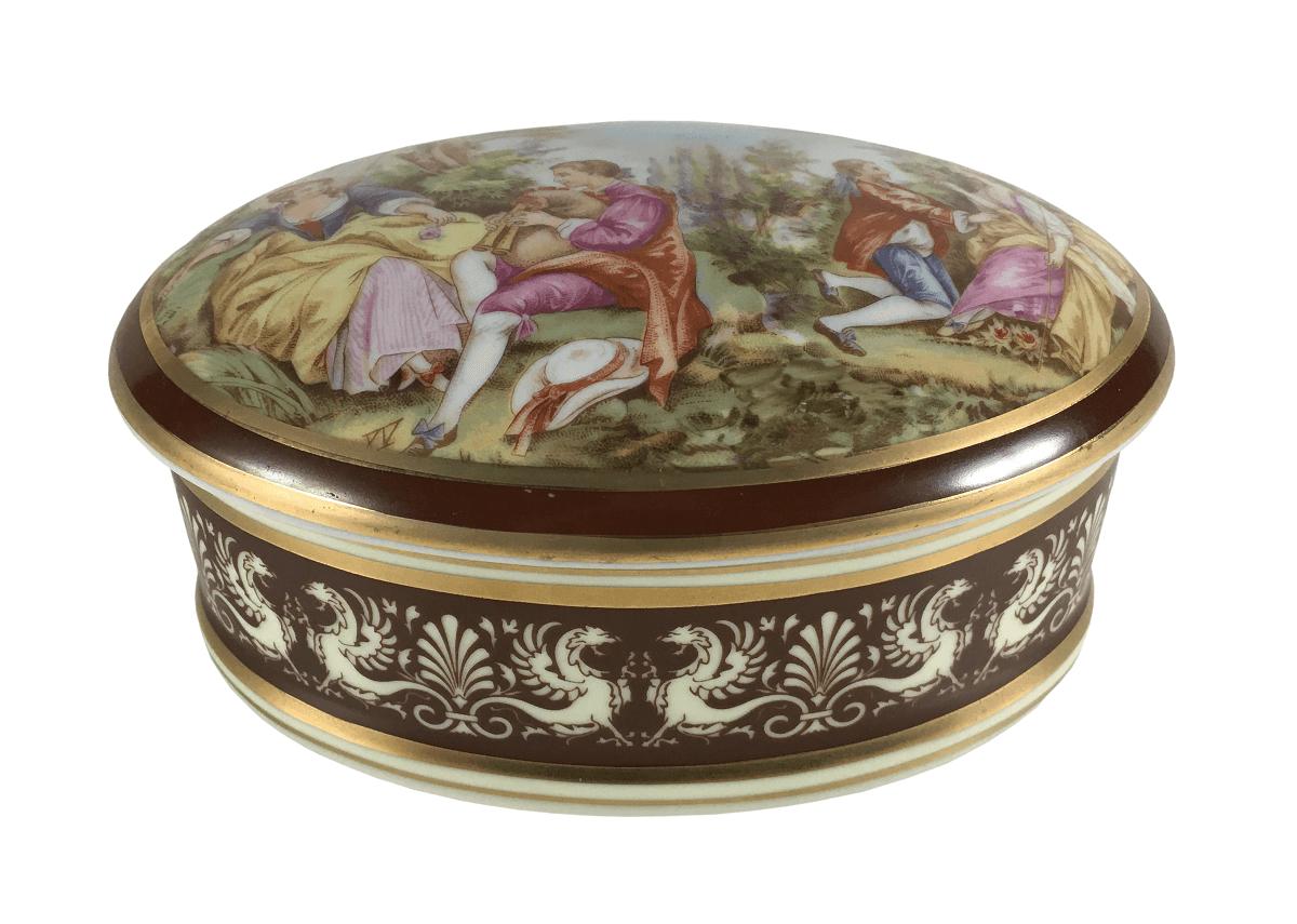 Antiga Caixa Porcelana Dp Belissima