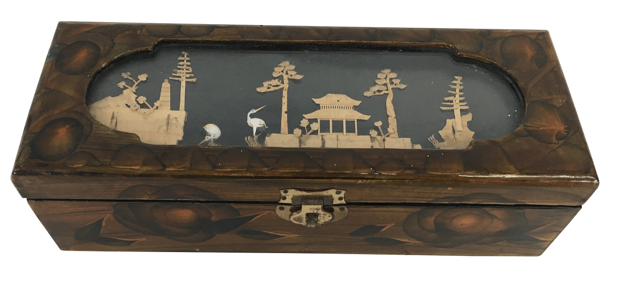 Antiga Caixa Porta Joia Chinesa Decoraçao Pagode