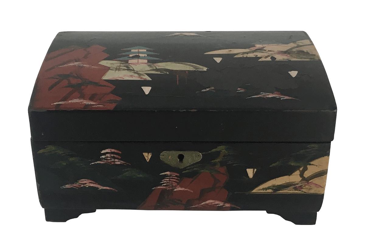 Antiga Caixa Porta Joia Japonesa Tocava Musica Em Madeira Pintado A Mao