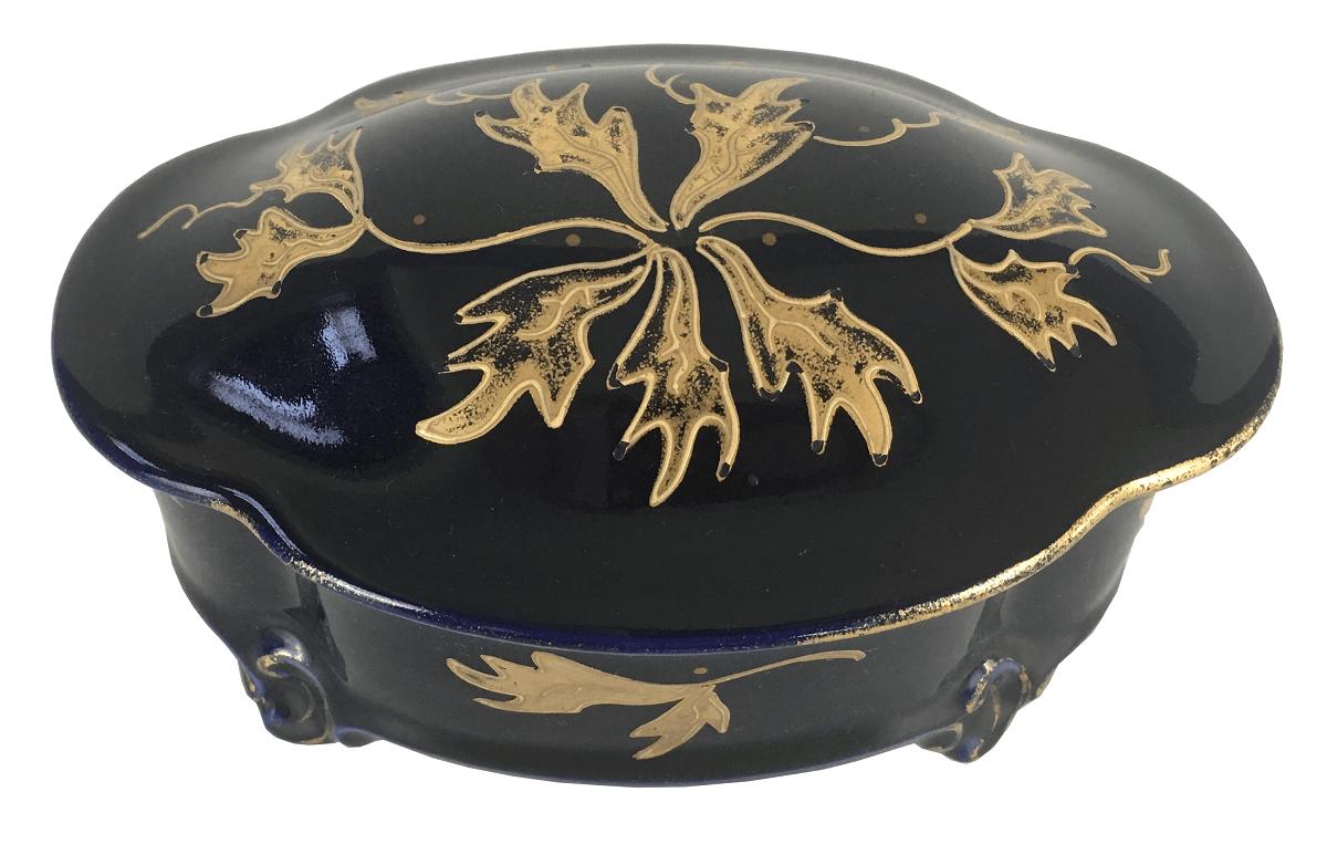Antiga Caixa Porta Joias Em Porcelana Alema Azul Com Ouro