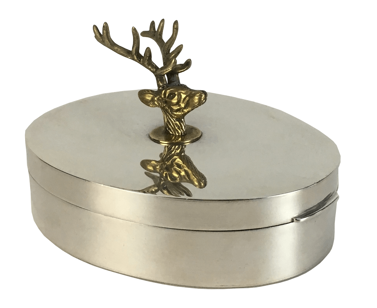 Antiga Caixa Porta Joias Prata 90 Cervo Em Bronze